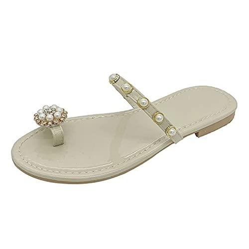 Shhyy Anillo De Las Mujeres Sandalias De Una Sola Banda Flip Flops Slim Pearl Cuero Sandalias Planas Verano Casual Cómodo Abre Toe Beach Zapatos,Beige,39