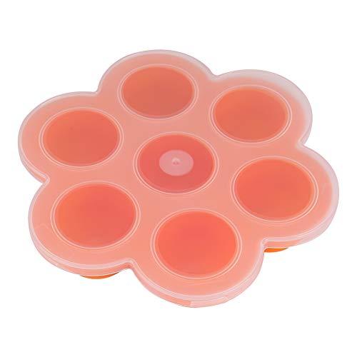 Jadeshay Roestvrijstalen eiervorm voor 7 holle ruimtes, silicone, herbruikbare levensmiddelen, vriesbakjes met deksel