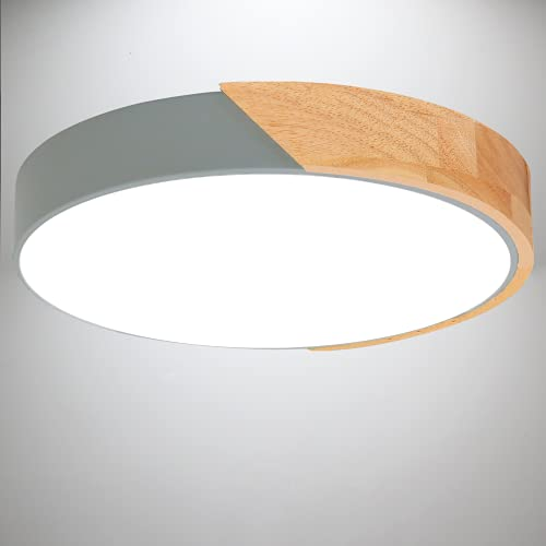 Kimjo Plafon LED Techo 24W Blanco Frío, Madera LED Lámpara de Techo...