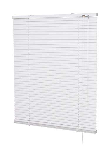 Alu-Jalousie für Fenster und Türen, Breite von 50 bis 220 cm, Höhe 140/150 / 170/220 / 240 cm, Wand- und Deckenmontage (optional mit Klemmträger) - Auswahl: Farbe weiß, Breite x Höhe 120 x 220 cm