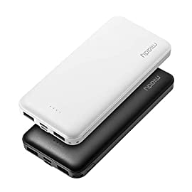Miady 10000mAh Dual USB Portable Charger Power Bank 8 【3-Pack 10000mAh Power Bank】Three 10000mAh battery packs not only for portable charging but also around the home. Allowing you charge mobile devices without having to be tethered to a plug socket. Each of them fully charges 2.4 times for iPhone X, 3.6 times for iPhone 8 and 2.2 times for Samsung Galaxy S9. 【Dual Output & Input】Each has 2 USB output ports that detect all the connected devices and efficiently distributes the current output up to 5V 2.1A. The USB C and Micro USB ports can fully refill the battery itself in 5 hrs at 5V 2.0A. 【Reliable Li-polymer Cell】Thanks to the Li-polymer battery pack, the charger is much safer than any Li-ion charger. Also, it's lighter and slimer that you can easily carry it around, even on airplanes.