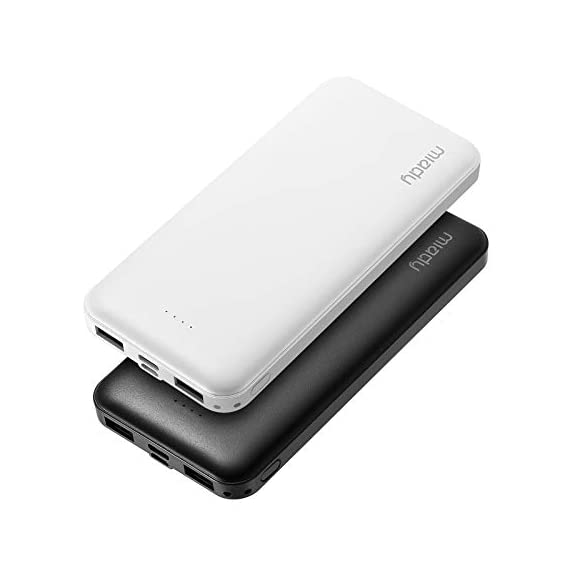 Miady 10000mAh Dual USB Portable Charger Power Bank 1 【3-Pack 10000mAh Power Bank】Three 10000mAh battery packs not only for portable charging but also around the home. Allowing you charge mobile devices without having to be tethered to a plug socket. Each of them fully charges 2.4 times for iPhone X, 3.6 times for iPhone 8 and 2.2 times for Samsung Galaxy S9. 【Dual Output & Input】Each has 2 USB output ports that detect all the connected devices and efficiently distributes the current output up to 5V 2.1A. The USB C and Micro USB ports can fully refill the battery itself in 5 hrs at 5V 2.0A. 【Reliable Li-polymer Cell】Thanks to the Li-polymer battery pack, the charger is much safer than any Li-ion charger. Also, it's lighter and slimer that you can easily carry it around, even on airplanes.