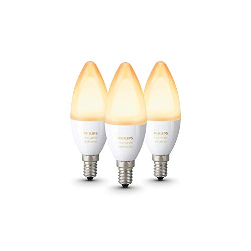 Philips Hue White Ambiance - Paquete de 3 bombillas LED inteligentes E14, luz blanca de cálida a fría, compatible con Bluetooth y Zigbee