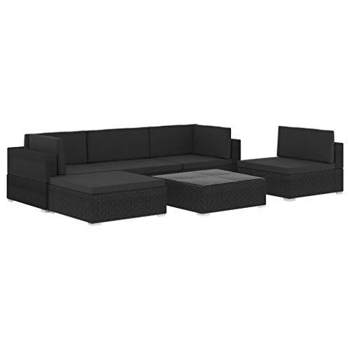 pedkit Set Muebles de Jardín 6 Piezas y Cojines Conjunto de Sofás de Jardín Ratán Sintético Negro