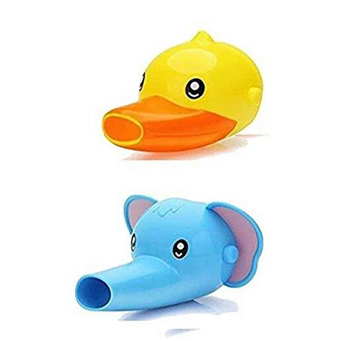 2-Set de Kawaii de plástico grifo Extender la historieta Animales Forma de baño Cocina extensores del grifo para los niños, niños, niños Lavado de Manos