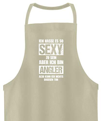 shirt-o-magic Angeln: Sexy Angler - Hochwertige Grillschürze -Einheitsgröße-Beige