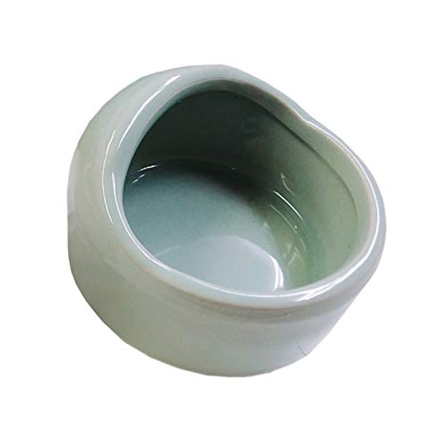 fuu 小動物用 陶器のえさ水入れ 陶器 チンチラ デグー ハムスター うさぎ モモンガ 小鳥 ペレット アクセサリー 小物 (ブルーグリーン, 丸型(S))