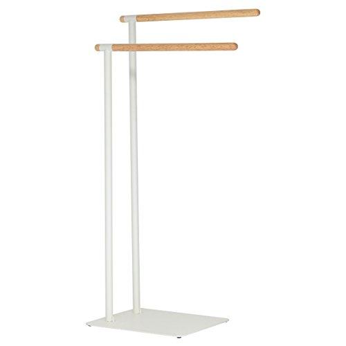 Sealskin Brix Handtuchständer weiß, Handtuchhalter mit einer stilvollen Kombination aus modernem Metall und natürlichem Holz