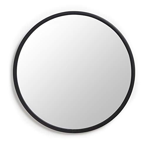 Umbra Hub Wall Mirror – 24 Inch Round Wall Mirror for Entryways, Washrooms, Living Rooms and More, Doubles as Wall Art, Black Rubber Frame