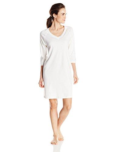 HANRO Damen Nachthemd 3/4 Arm 90 cm Pure Essence (0102 off white), Gr. L