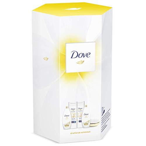 Dove Geschenkset mit hochwertiger Haarbürste (2x Duschgel 250ml & 2x Bodylotion 400ml), 4 Stück