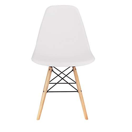 Silla de comedor simple casa respaldo silla de escritorio hierro forjado madera maciza pintura galvanoplastia silla multiusos (4 piezas conjuntos) (White-zl)