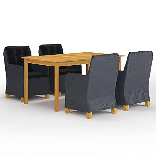 vidaXL Gartenmöbel Set 5-TLG. Sitzgruppe Gartengarnitur Sitzgarnitur Gartenset Tisch Stühle Sessel Gartensessel Gartentisch Dunkelgrau