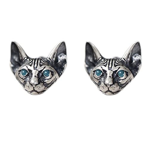 Yushu Pendientes de gato, 1 par de pendientes de gato vintage, hipoalergénicos, pendientes de gato punk, góticos geniales, regalos de joyería de moda unisex, accesorios populares