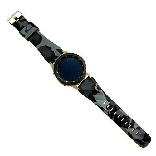 Pulseira Camuflada Militar para Samsung Gear S3 Frontier - Gear S3 Classic - Galaxy Watch 46mm BT - Amazfit Gtr 47mm - Amazfit Stratos 3 - Marca Ltimports (Preto)