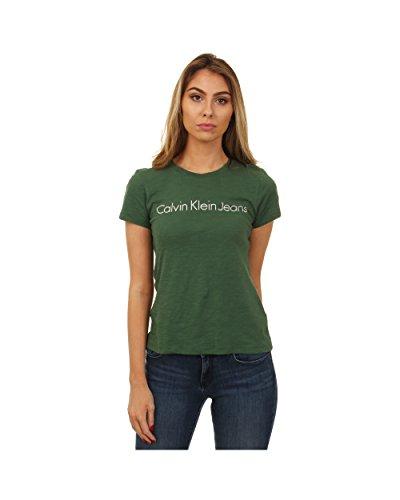 Calvin Klein Jeans Trekking Green Camiseta, Verde, S para Mujer