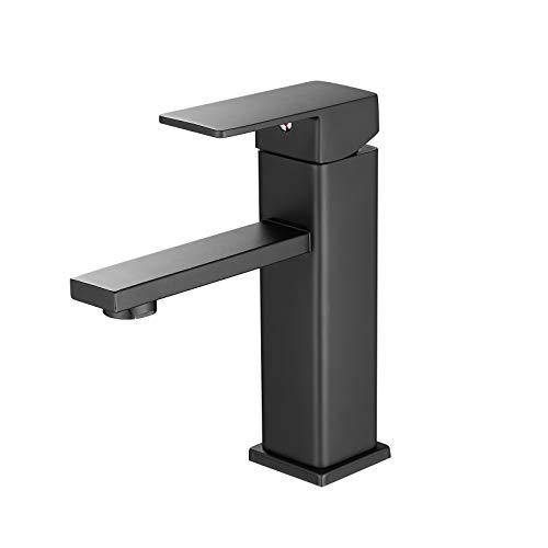 Casavilla Wasserhahn Bad Armatur Mischbatterie Bad Waschtisch Armatur für Badezimmer Waschtisch Kaltes Einhhandmischer Badarmatur (Schwarz)