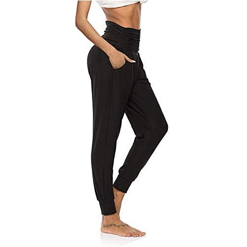 KizBruo Haremshose für Damen, leichte und dünne Yoga-Jogginghose, Joggerhose (Schwarz, S)
