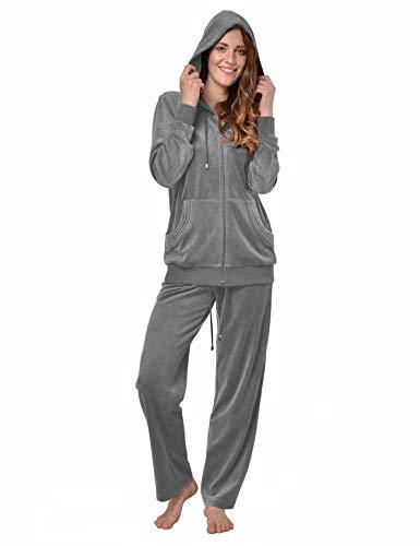 RAIKOU Damen Micro Velours Freizeitanzug Hausanzug mit Reißverschluss Nicki-Anzug Zweiteiliger Schlafanzug mit Strasssteinen (40/42, Grau Melange)