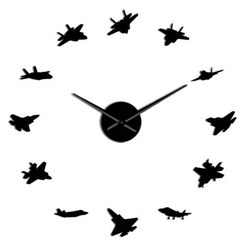 yage 12 Aviones de Guerra, Arte de Pared Militar, Pegatinas de decoración de Aviones, Aviones de Batalla, Reloj de Pared Gigante DIY, Reloj Grande de aviación