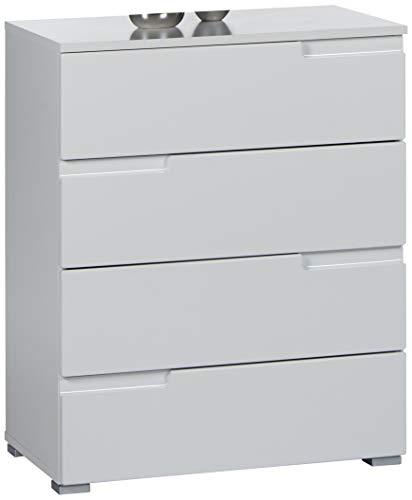Stella Trading Kommode weiß Hochglanz mit Schubladen, BxHxT 65x80x40 cm