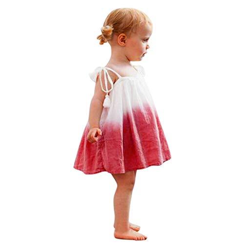 Julhold Peuter Baby Meisjes Mode Mouwloos Splice Gradient Print Casual Katoen Jurk Kleding Strandjurk 0-3 Jaar