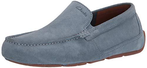 Clarks mens Markman Plain Driving Style Loafer, Light Blue Suede, 9.5 US