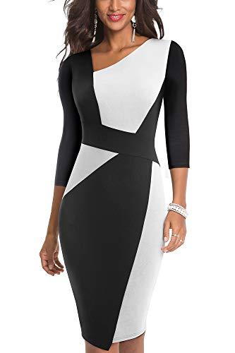 HOMEYEE Damen Vintage Ärmelloses Business Kleid aus Stretch mit Kontrastfarbe B517 (EU 38 = Size M, Weiß + Schwarz-L)