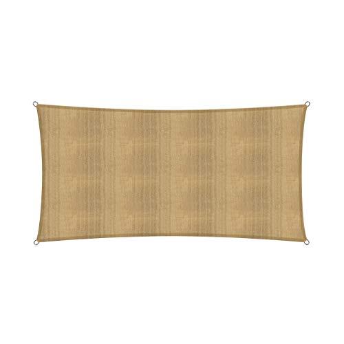 Lumaland Voile d'ombrage Cordes de Fixation incluses, 100% HDPE avec Le Filtre UV de Protection 2x4 Sable