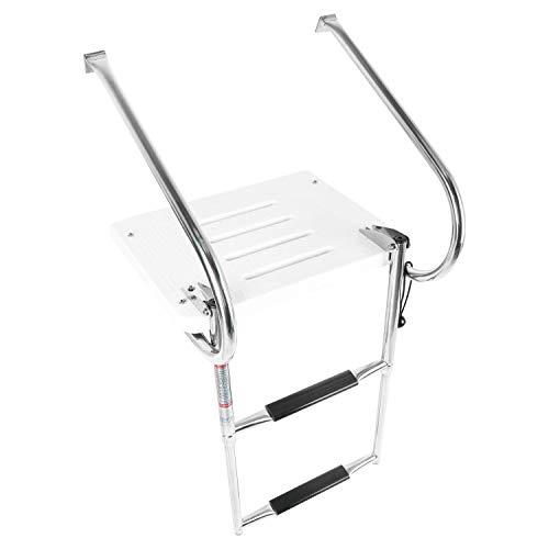 YaeMarine 2 Step Fiberglass Platform Ladders, Inboard Boat Ladder, Under Mount Telescopic Ladder, Boat Swim Platform, Under Mount Telescopic Ladder with Stainless Bracket(BK-0094)