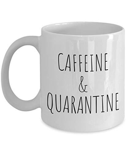 Tazza da caffeina e quarantena, idea regalo per quarantena e quarantena 15 OZ bianco