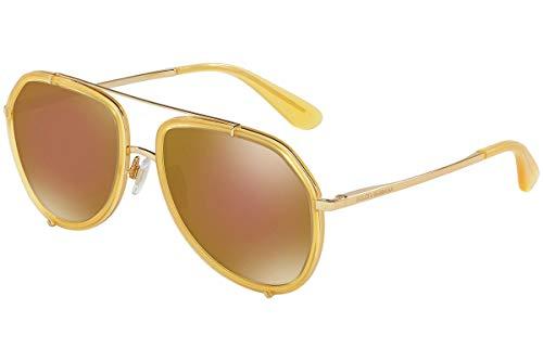 Dolce & Gabbana DG2161 Gafas de Sol Amarillo con lentes de espejos marrónes 02F9 DG 2161