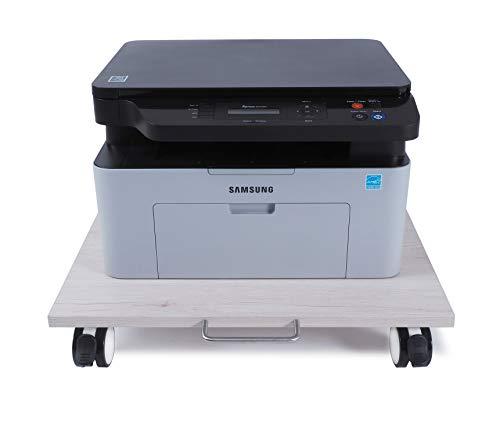 NEUN WELTEN Carrellino sotto Il Tavolo 50 x 50 cm (L x L), Supporto per Stampante e CPU in Legno Carrello da Trasporto (Model 2)