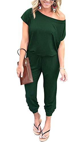 PRETTYGARDEN Women's Loose Solid Off Shoulder Elastic Waist Stretchy Long Romper Jumpsuit with Pockets (Dark Green, X-Large)