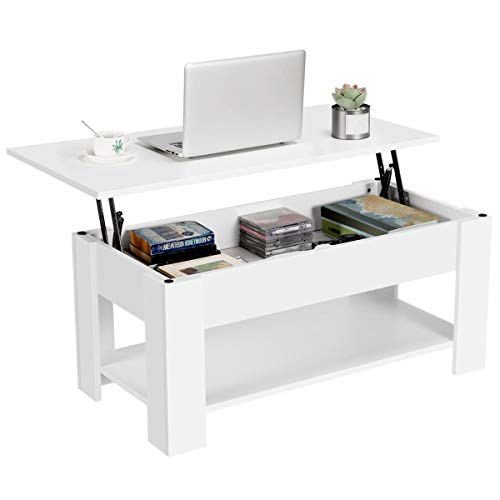 YAHEETECH Lift Top Coffee Table with Hidden Compartment and Storage Shelf - Lift Tabletop for Living Room Reception, White