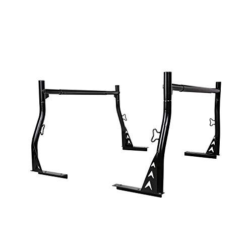 AA-Racks Model X33 800Ibs Low-Profile Steel Utility Pick-Up Truck Ladder Rack Two-bar Set - Matte Black