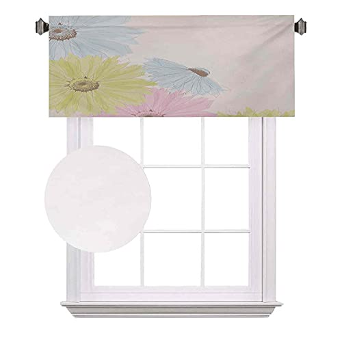 Cortinas de media ventana pastel, margaritas manzanillas en primavera temporada jardín, adecuado para pequeñas ventanas en cocinas y baños, ancho 52 x largo 12 pulgadas verde pálido Aqua azul pálido