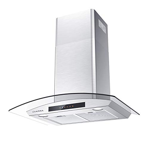 Glass Vent Hood, CIARRA Wall Mount Range Hood 30 inch, 450 CFM Stainless Steel Stove Hood with 3 Speed Exhausted Fan, 2 Dishwasher Safe Mesh Filters, Touch Panel Control, Ducted & Ductless Convertible