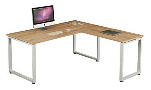 hjh OFFICE 674030 Eckschreibtisch WORKSPACE XL Eiche/Weiß Schreibtisch mit großer Arbeitsfläche 180 x 180 cm