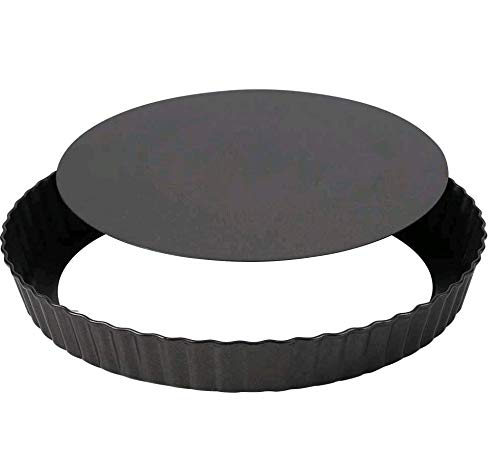 QINREN Removable Quiche Tart Pan, 8.8' Non-Stick Fluted Flan Tin Quiche Pan Round Deep Tart Tin with Loose Base Perfect for creating creamy cheesecakes chocolate tarts fruit tart pies quiches brownies