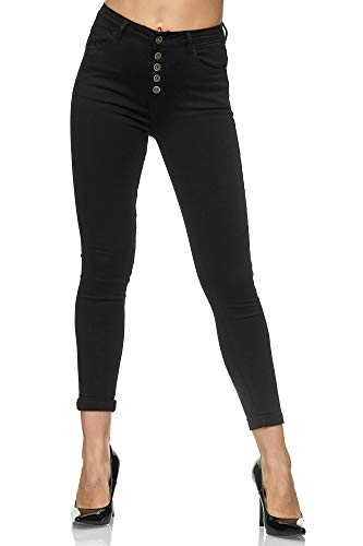 Elara Jeans Taille Haute Femme Slim Fit avec Boutons Chunkyrayan EL15 Schwarz-40 (L)