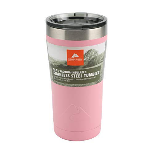 Ozark Trail Insulated Double Wall Stainless Steel 20 Ounce Pink Tumbler Cup Cold / Hot Drinks Locking Leakproof Lid Anti-Skid Bottom Sweat-Free Design