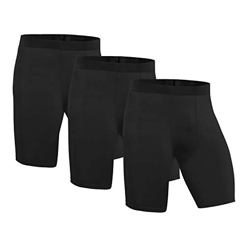 Niksa 3 Pack Compression Shorts Men Quick Dry Black Performance Athletic Shorts-L