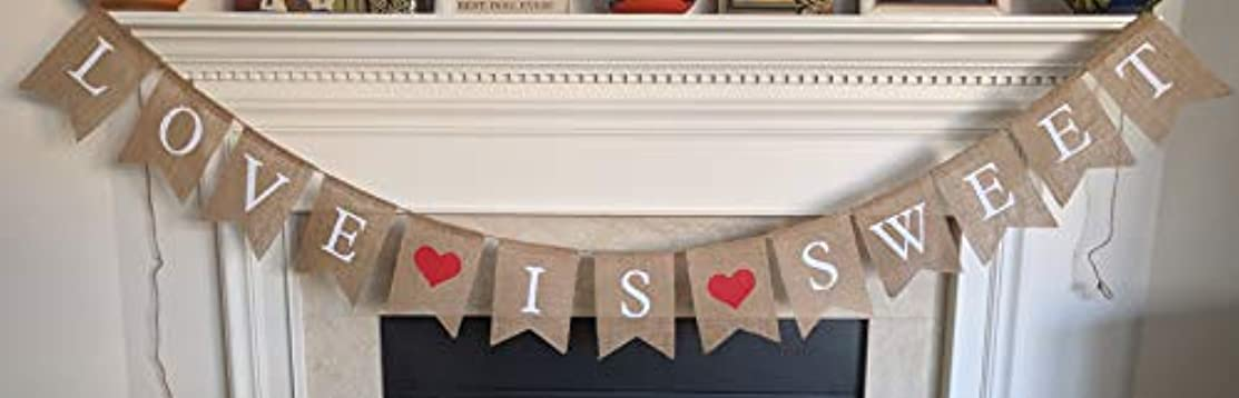 Love is Sweet Burlap Banner - Valentine's Day Party Bunting Garland - Wedding Reception Engagement Valentines Day - Bridal Shower Save The Date - Photo Prop Decorations by Jolly Jon ?