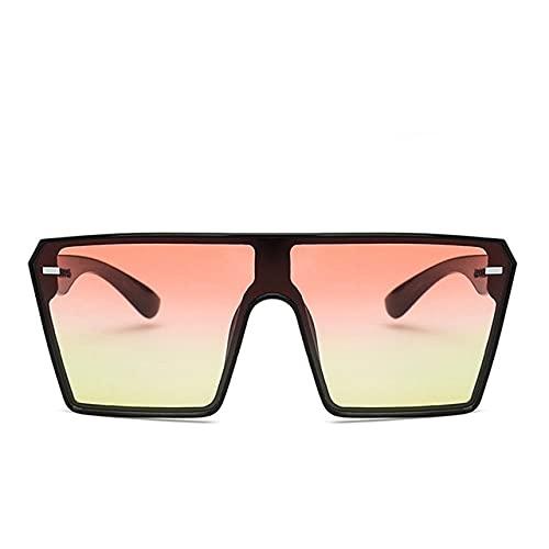Moda Gafas de Sol cuadradas de Gran tamaño gradiente Retro Gafas de Sol de Montura Grande para Mujer Espejo de sombrilla de una Pieza-Glasses