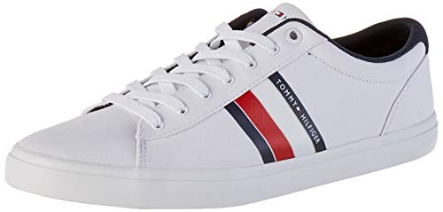 Tommy Hilfiger Essential Stripes Detail Sneaker, Zapatillas para Hombre, Blanco (White Ybs), 42 EU