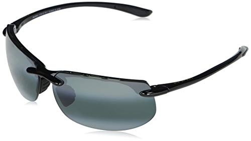 Maui Jim gafa sol hombre | Banyans (Asian Fit ) 412N-02 | Montura color negro brillante. Lentes polarizadas gris neutro.
