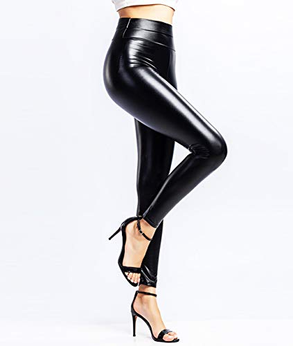 CROSS1946 Women's Super Shiny Sexy Faux Leather Leggings for Curvy Hips Stretchy PU High Waisted Pants with Waistband Button M