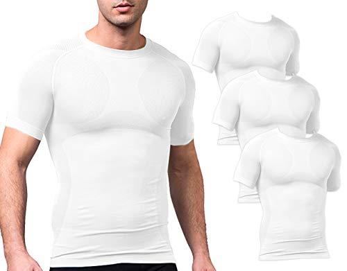 Sodacoda Herren Base-Layer T-Shirt - Gym Alltags Freizeit Hemd Kurzarm (3X Weiß L)