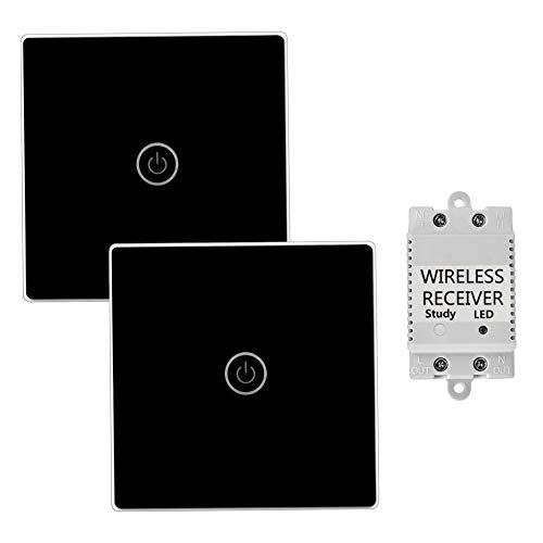 TSSS Hause Büro Schwarz Touch Funkschalter mit Empfänger mit LED Anzeige Licht - Fernbedienung Multi-Einheit Lampen Touch Lichtschalter - Belastbarkeit Max 2000W (Dual Funkschalter 1-Wege)